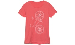 Women's Vertical Bicycle Graphic T-Shirt - Coral - Size: Small