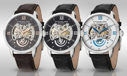 Stuhrling Original Men's Automatic Skeleton Watch - Black Band White Dial