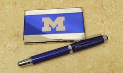 LXG Laser Engraved Carbon Fiber Executive Pen & Cardholder Set - Purple