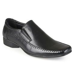 Vance Men's Square Toe Faux Leather Slip-on Loafers - Black - Size: 10.5
