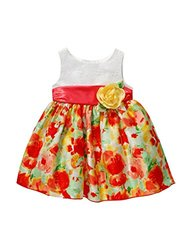 Youngland Little Girls' Floral Eyelet Dress - Coral/Multi