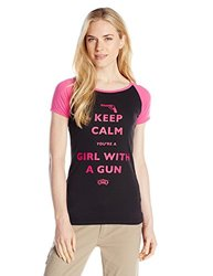 GWG: Girls With Guns Women's Keep Calm Tee, Small, Black/Fuchsia