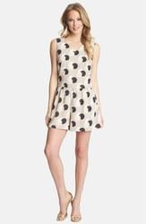Women's Sleeveless Deco Orbit Twist Back Romper - Macadamia - Size: M