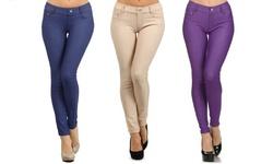 3 Pack Women's 5 Pocket Slimming Jeggings - Blue/Purple/Camel - Size: S/M