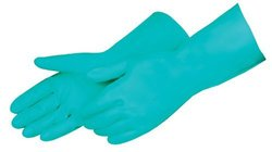 """Liberty 2980SL Nitrile Liquid Proof Unsupported Glove, Chemical Resistant, 11 mil Thickness, 13"""" Length, Medium, Green (Pack of 12)"""