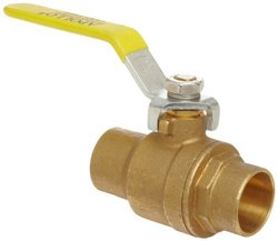 "Apollo 94ALF-200 Series Brass Ball Valve, Potable Water Service, Two Piece, Inline, Lever, 1-1/4"" Solder End"