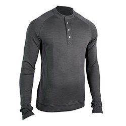 Showers Pass Men's Bamboo Merino Sport Henley Shirt - Grey - Size: Medium