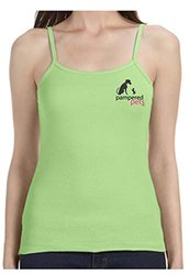Pampered Pets PAWS Edition Ladies' Baby Rib Spaghetti Strap Tank Top, Small, Lime