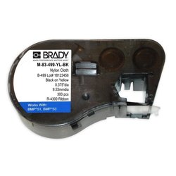 "Brady M-83-499-YL-BK Nylon Cloth B-499 Black on Yellow Label Maker Cartridge, 1/2"" Diameter, For BMP51/BMP53 Printers"