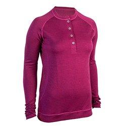 Showers Pass Women's Long Sleeve Bamboo Merino Henley Shirt, Large, Plum