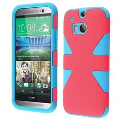 HR Wireless HTC One M8 Dynamic Slim Hybrid Cover Case - Hot Pink/Sky Blue