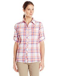 Columbia Sportswear Women's Insect Blocker Plaid Long Sleeve Shirt, Tropic Pink, Small