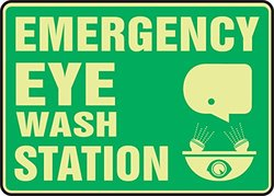 "10""x14""x0.070"" Lumi-Glow ""EMERGENCY EYE WASH STATION"" Safety Sign - Green"