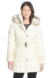 Betsey Johnson Belted Puffer Women's Coat - Ivory - Size: