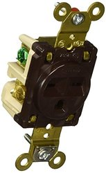 Hubbell Wiring Systems HBL5661 Flush Nylon Face Single Receptacle, 15 Ampere, 250V, 2 Pole, 3 Wire Grounding, Brown
