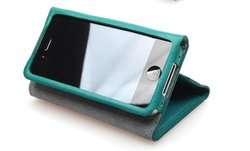 Fennec Premium Leather Wallet Type Case for iPhone 4/4S - Ocean Blue