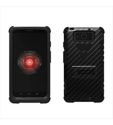 Beyond Cell High Impact Hybrid Hard + Soft Tough Armor Rugged Case with 3 Layers of Protection and Built-In Kickstand - Retail Packaging - Black/Black/Carbon Fiber Black