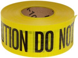 "Brady 91102 500' Length, 3"" Width, Black On Yellow Color Reinforced Barricade Tape, Legend ""Caution Do Not Enter"""