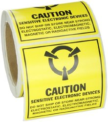 "Brady 4""x4"" Tamper-Evident Paper Static Awareness Label - 250 Pk - Yellow"