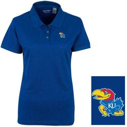 NCAA Kansas Jayhawks Women's Pique  Polo Shirt - Ultramarine - Size: M