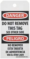 "NMC RPT110 ""DANGER - DO NOT ENERGIZE EQUIPMENT LOCKED OUT"" Bilingual Accident Prevention Tag, Unrippable Vinyl, 3"" Length, 6"" Height, Black/Red on White (Pack of 25)"