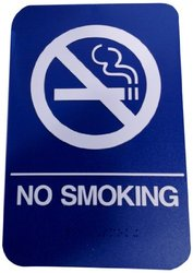 "Don-Jo 6"" x 9"" ""NO SMOKING"" ADA Sign Board - White/Blue - Pack of 10"