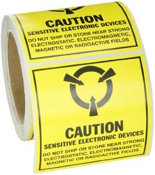 "Brady SL-5 Removable Paper Static Awareness Labels , Black On Yellow,  4.000"" x 4.000"" (101.600 Mm x 101.600 Mm),  Legend ""Caution Sensitive Electronic... (Mil Std. 129J Symbol)""  (250 Labels per Roll, 1 Roll per Package)"