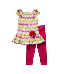 Youngland Girls Chevron Top & Leggings Set- Pink/Green - Size: 4-6X