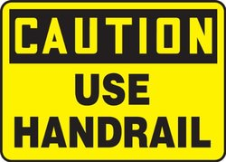 "Accuform Signs MSTF660VA Aluminum Safety Sign, Legend ""CAUTION USE HANDRAIL"", 10"" Length x 14"" Width x 0.040"" Thickness, Black on Yellow"
