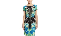 Sandra Darren Women's Printed Sheath Dress - Royal/Teal/Blk - Size: 6