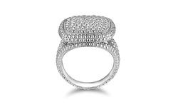 Sevil 18K WG Plated 0.10CTTW Diamond Center Square Ring - Size: 5
