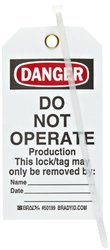 "Brady ""Danger - Do Not Operate - Production - Only the Individual..."" Tag, Polyester, 5-3/4"" Height, 3"" Width (Pack of 25)"