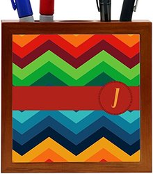 "Rikki Knight Letter ""J"" Initial on Zig Zag Design 5-Inch Tile Wooden Tile Pen Holder (RK-PH45871)"