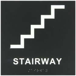 """Brady 70110 8"""" Height, 8"""" Width, B-81 Non Glare Rigid Plastic, White On Black Color Braille (ADA) Sign, Legend """"Stairway Braille (With Picto)"""""""