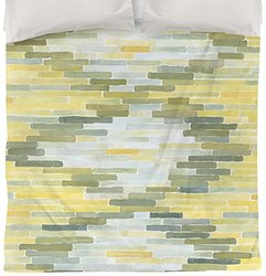 Thumbprintz Green and Yellow Reflection 1 Duvet Cover