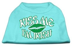 "Mirage Pet ""Kiss Me I'm Irish"" ScrPrint Dog Shirt - Aqua - Size: XL (16)"