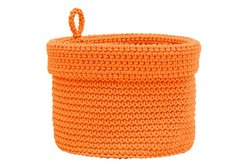 Heritage Lace Mode Crochet Round Basket with Loop, 10 by 10-Inch, Orange