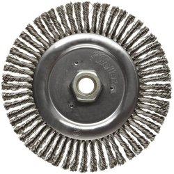 """Weiler Dualife Narrow Face Wire Wheel Brush, Threaded Hole, Stainless Steel 302, Stringer Knotted, 6"""" Diameter, 0.020"""" Wire Diameter, 5/8-11"""" Arbor, 1-1/8"""" Bristle Length, 3/16"""" Brush Face Width, 12500 rpm"""
