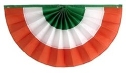 "Independence Bunting & Flag - 36"" x 72"" 3 Stripe St. Patrick's Day Nylon Pleated Fan - Green/White/Orange"