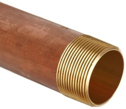 """Anderson Metals Red B rass Pipe Fitting, Nipple, 1-1/2"""" x 1-1/2"""" Male, 4-1/2"""" Length"""