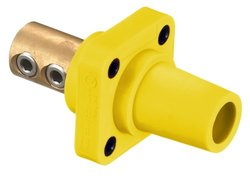 "Hubbell Wiring Systems HBLFRY TPE Single Pole Panel Mount Female Receptacle, Double Set Screw, Number 4 - 4/0 Cable Size, 400 Amp, 4-3/16"" Length, Yellow"