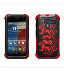 Beyond Cell High Impact Hybrid Hard + Soft Tough Armor Rugged Defender Case with 3 Layers of Protection and Built-In Kickstand - Retail Packaging - Black/Red