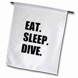 "3dRose fl_180395_2 ""Eat Sleep Dive - Passionate About Diving - High Board, Scuba Diver"" Garden Flag, 18 x 27"""