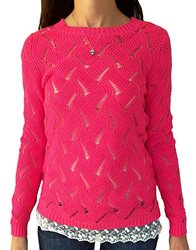 It's Our Time Junior Girls' Cable Knit Sweater Lace Trim - Pink - Size: L