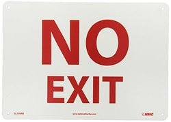 """NMC GL199RB Fire Sign, Legend """"NO EXIT"""", 14"""" Length x 10"""" Height, Glow Rigid, Red on Yellow"""