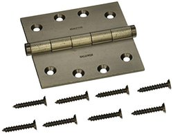 Baldwin 1040452INRP Square Mortise Hinge Non Removable Pin, Distressed Antique Nickel