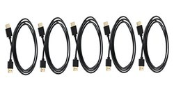 C&E 5 Pack Ultra Slim Series High Performance HDMI Cable with RedMere Technology 15 Feet CNE460210
