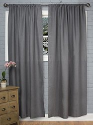 "Rizzy Home Window Single Curtain Panel 96""x50"" - Charcoal"