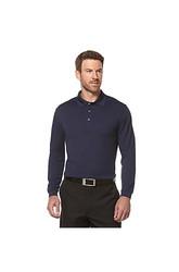PGA TOUR  Men's Long Sleeve Solid Airflux Polo - Blue - Size: Large