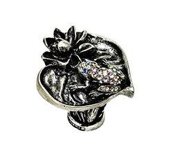 Carpe Diem Hardware 2571-9-78 In The Garden Chalice Lily Pad & Frog Large Knob with Swarovski Crystals